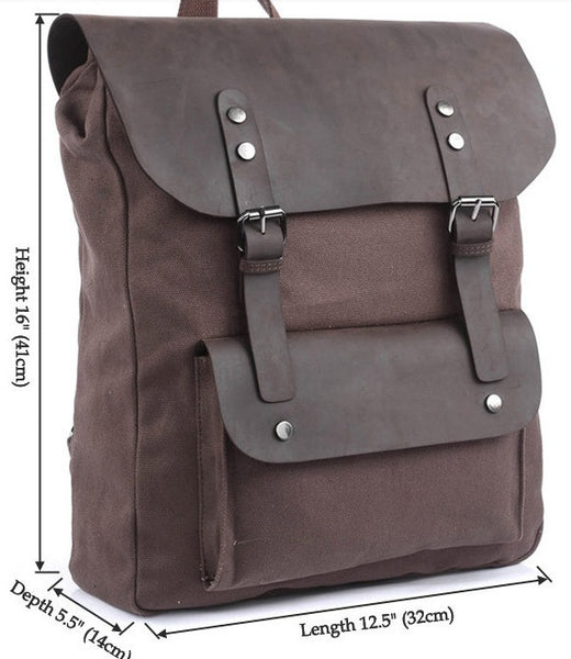 Size chart for the dark brown vintage leather & canvas backpack