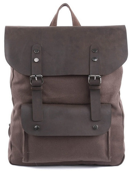 Front image of dark brown vintage casual canvas leather student backpack