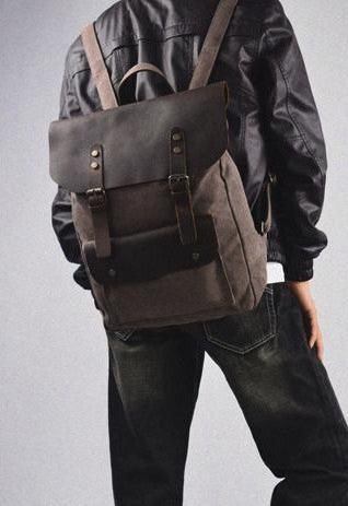 Man sporting the chocolate vintage leather & canvas backpack