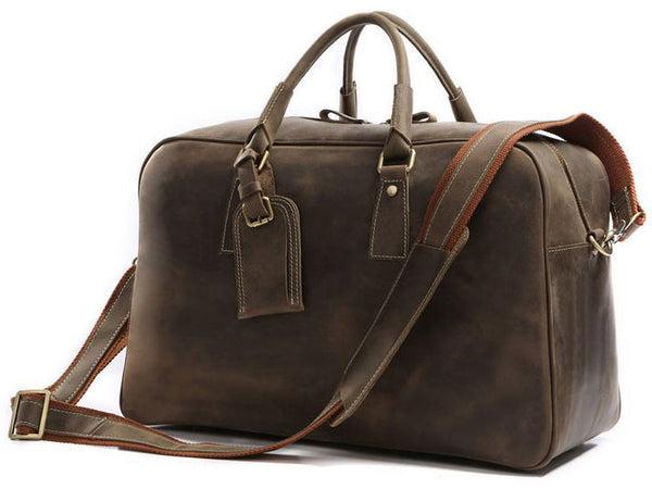 Mens Overnight Bag Leather Travel Holdall - Serbags  - 2