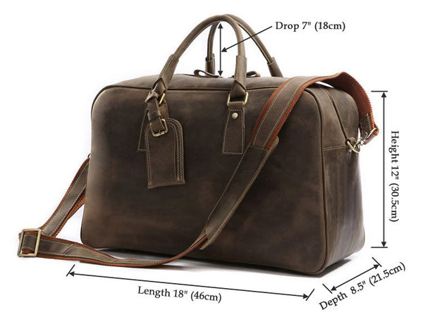 dimension details for the leather travel bag for men by Serbags