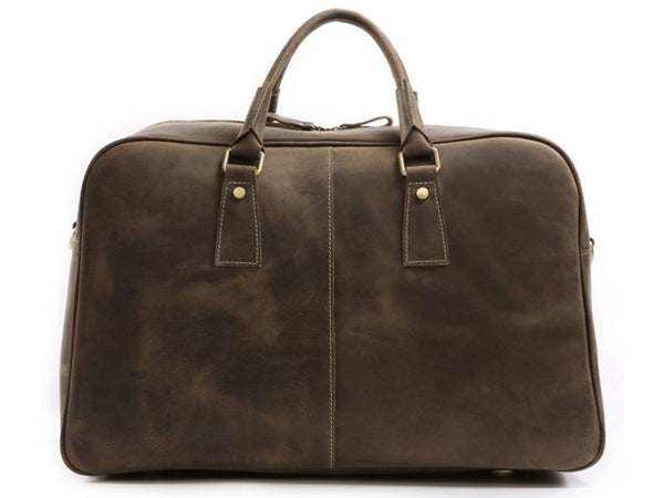 front view of the leather travel bag for men by Serbags