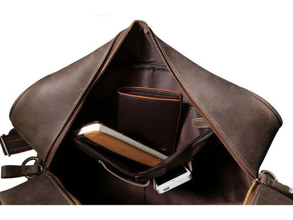 Mens Overnight Bag Leather Travel Holdall - Serbags  - 11