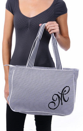 Zebra Blue Striped Tote Bag - Serbags  - 6