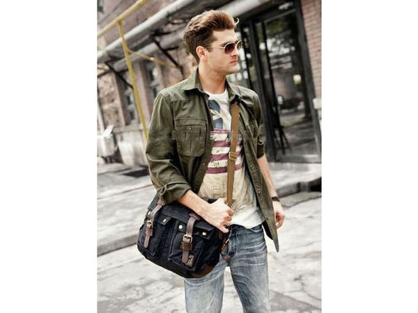 Mens Canvas Leather Bag