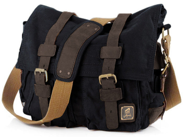 Black Canvas Messenger Bag Vintage Military Style With