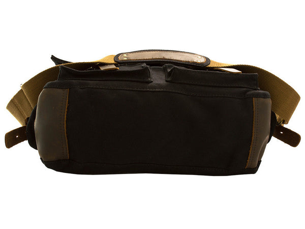 Black Vintage Military Bag with Leather Accents - Serbags  - 9