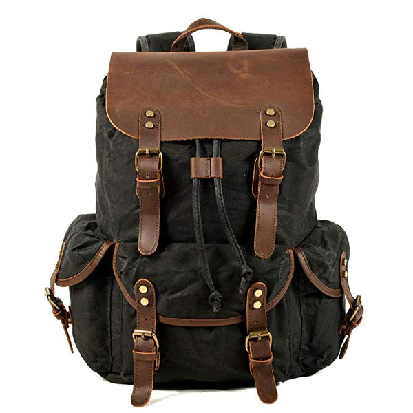 Genuine Leather Canvas Waterproof Vintage School And Travel Backpack