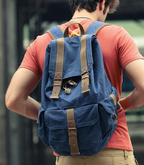 Heavy Duty Brown Canvas Classic Backpack for Work, School & Outdoor Activities