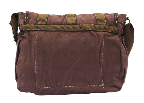 Brown Canvas Cross Body Messenger Bag for Women