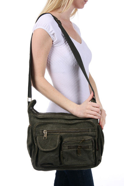 Brown Canvas Travel Shoulder Bag - Serbags  - 6