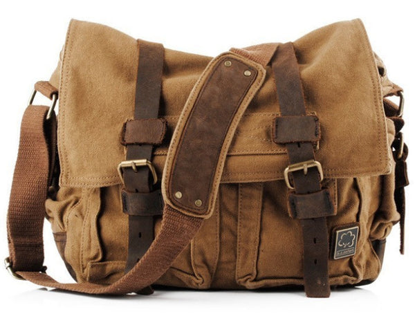 brown canvas military style messenger bag by Serbags