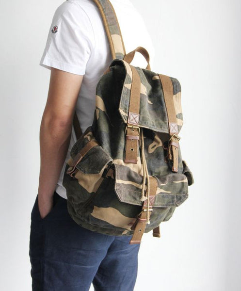 Heavy Duty & Full Canvas Camo Military Backpack with Leather Accents
