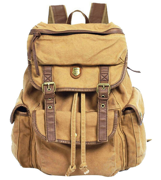 ab1bde0838 Front view of light brown canvas rucksack backpack by SerBags