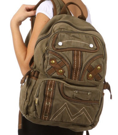 Canvas school backpack for girls