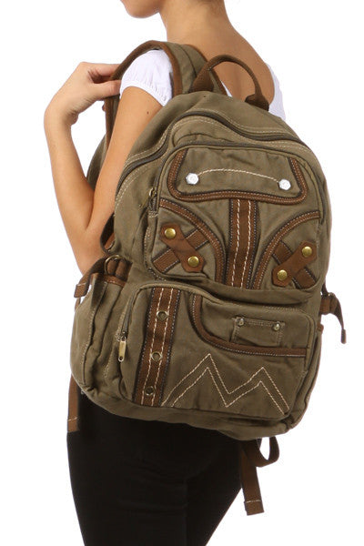 Canvas school backpack front view