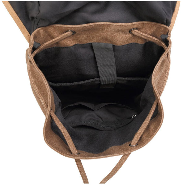 Interior lining and pockets for the Serbags canvas laptop backpack