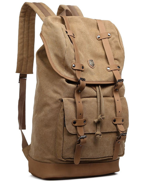 Canvas Daypack with Leather Straps & Laptop Sleeve - Premium Quality
