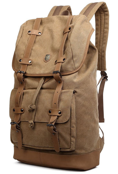 Side view of the Serbags light-brown canvas daypack