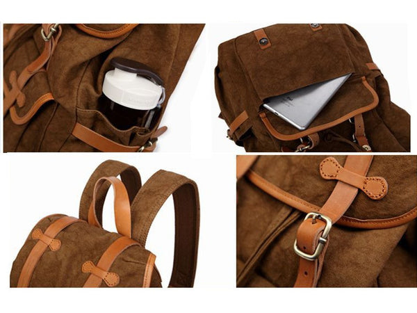 pocket & strap details - cotton backpack with leather straps by SerBags