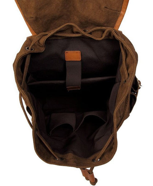 interior pockets cotton backpack with leather straps by SerBags