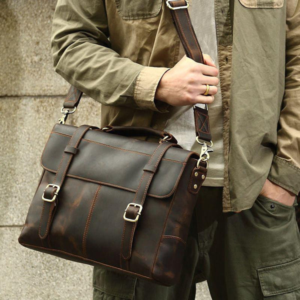 Premium Leather Messenger Briefcase in Orange Stitching and Metal Finishing