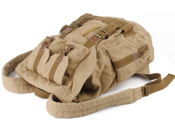 Top view of the Serbags light-brown military travel backpack