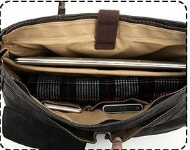 Large Canvas Messenger Bag Leather Briefcase Crossbody Satchel 15.6