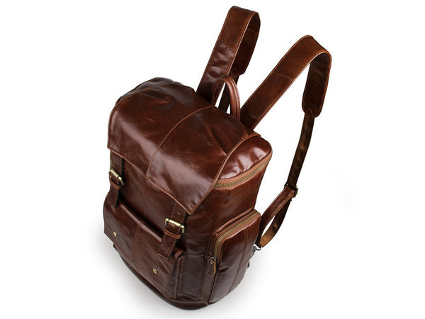 Fine Leather Multi-Pocket Travel Backpack