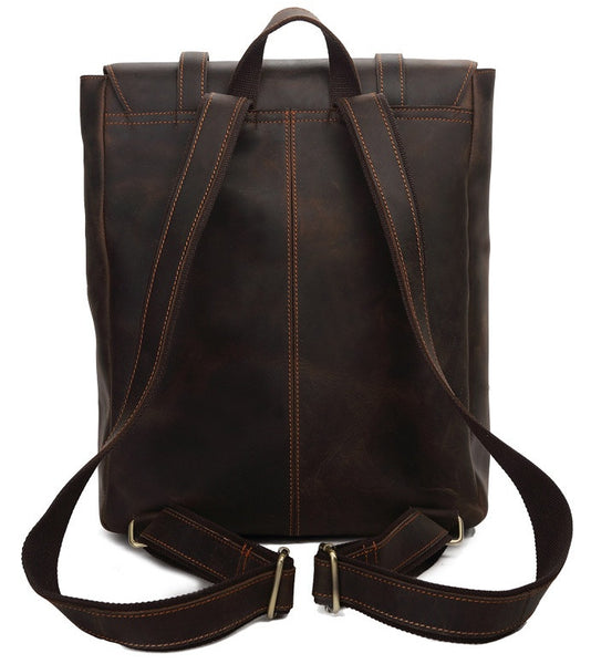 Serbags leather laptop backpack