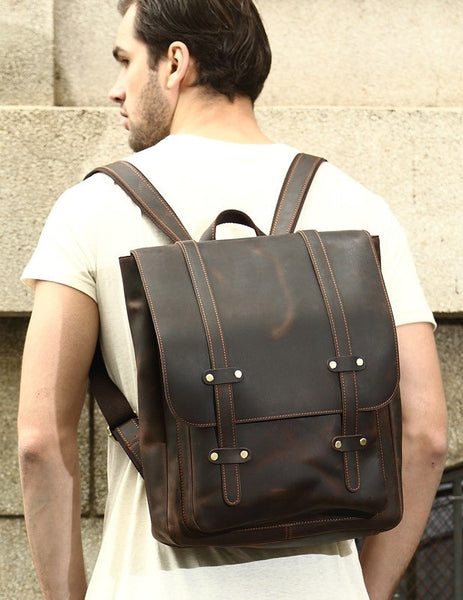 Man wearing the  Serbags leather laptop backpack