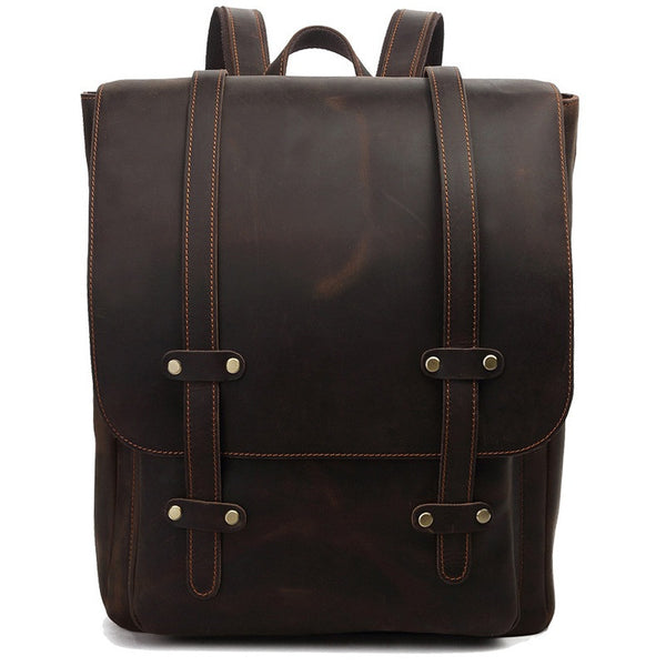Rustic Businessman / Scholar Genuine Leather Laptop Backpack