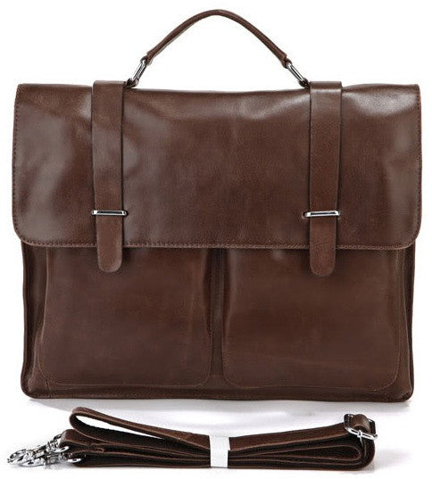 Versatile Leather Laptop Portfolio Bag in Sleek Design & Genuine Brown Leather