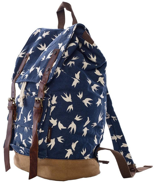 side view - dark blue dove art print school rucksack by Serbags