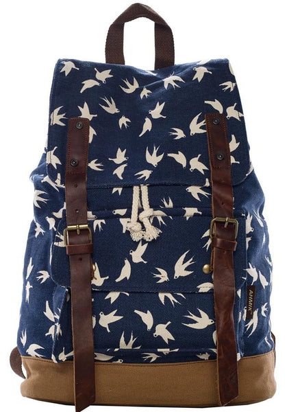 front view - dark blue dove art print school rucksack by Serbags