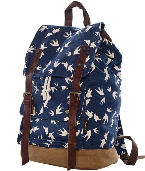 dark blue dove art print school rucksack by Serbags