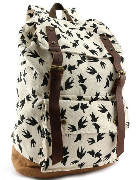 white and black dove art print school rucksack by Serbags