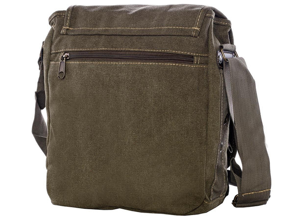 Back view of the Green & Brown Multi-Pocket Crossbody Organizer Bag