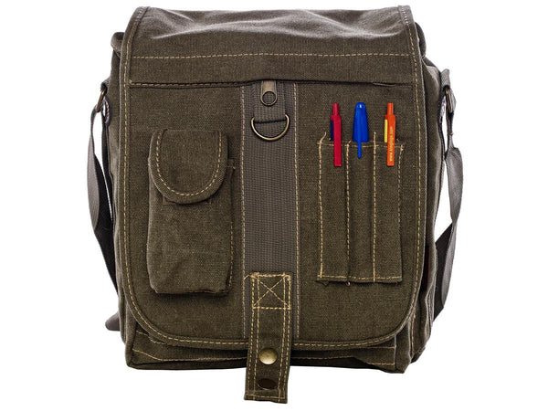 front view of the Green & Brown Multi-Pocket Crossbody Organizer Bag