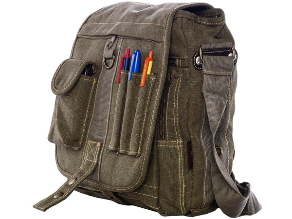 side view of the Green & Brown Multi-Pocket Crossbody Organizer Bag