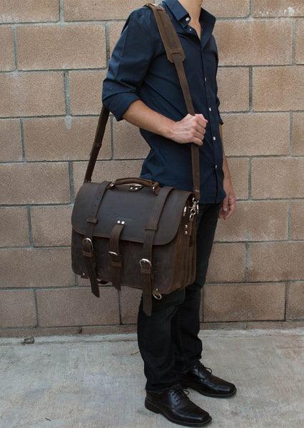 genuine leather Selvaggio briefcase & backpack worn by stylish man