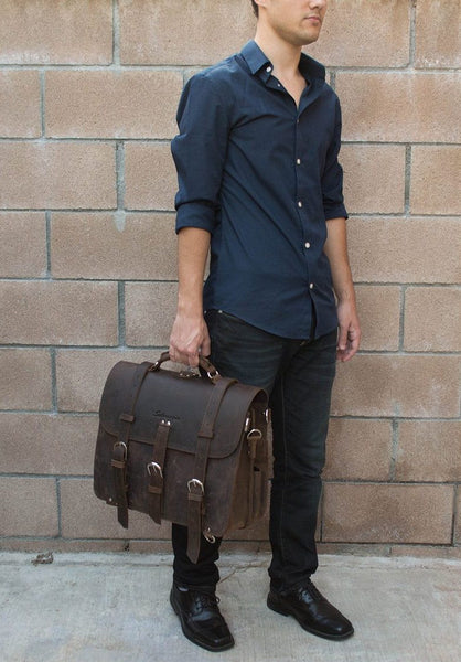 Stylish man wearing genuine leather Selvaggio briefcase & backpack