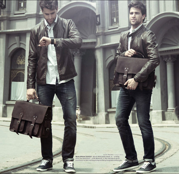 Mens Selvaggio Handcrafted Leather Bag with Adjustable Shoulder Strap for Business and Everyday Wear
