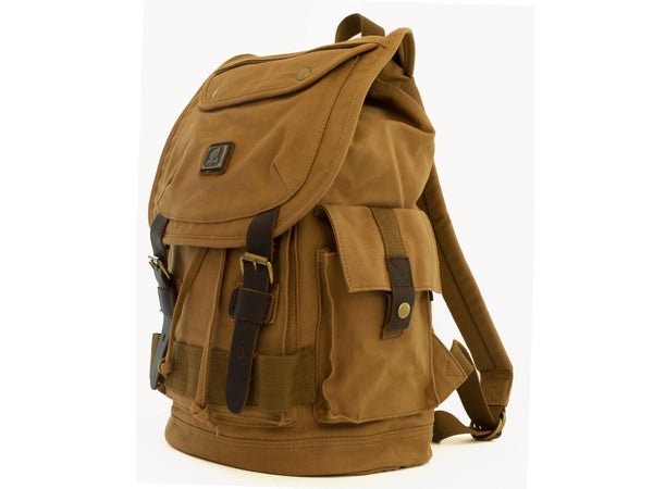 Heavy Duty Canvas School Rucksack with Leather Trims - Serbags  - 6