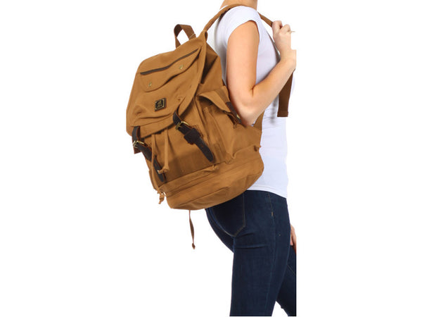 Heavy Duty Canvas School Rucksack with Leather Trims - Serbags  - 5