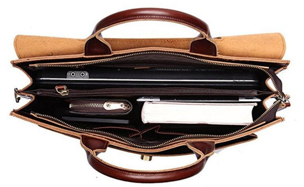 Selvaggio Italian Genuine Leather Satchel with Metal Reinforcement & Laptop Compartment