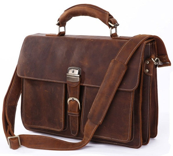 Italian Leather Men's Briefcase Laptop - Two Gusset Pockets