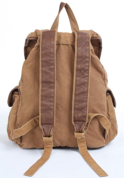 Back view of the light brown canvas rucksack backpack by SerBags