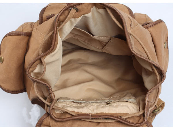 Interior detail of the light brown canvas rucksack backpack by SerBags