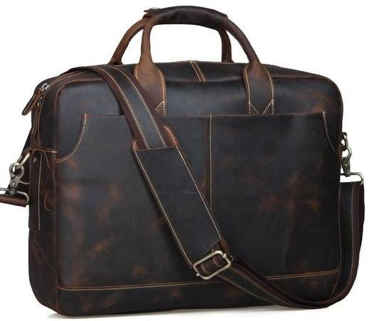 Large Genuine Leather Professional Men's Briefcase Messenger Tote Bag - 17